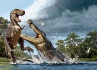 A Deinosuchus lunges at an Albertosaurus in an artist's conception. (Raul D. Martin)